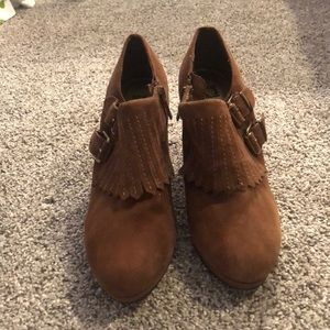 Brown suede ankle bootie - never worn